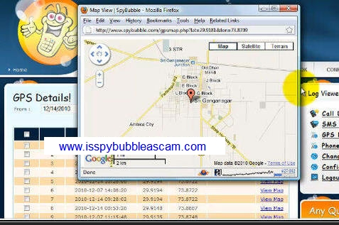 Spybubble GPS tracking members area screen.